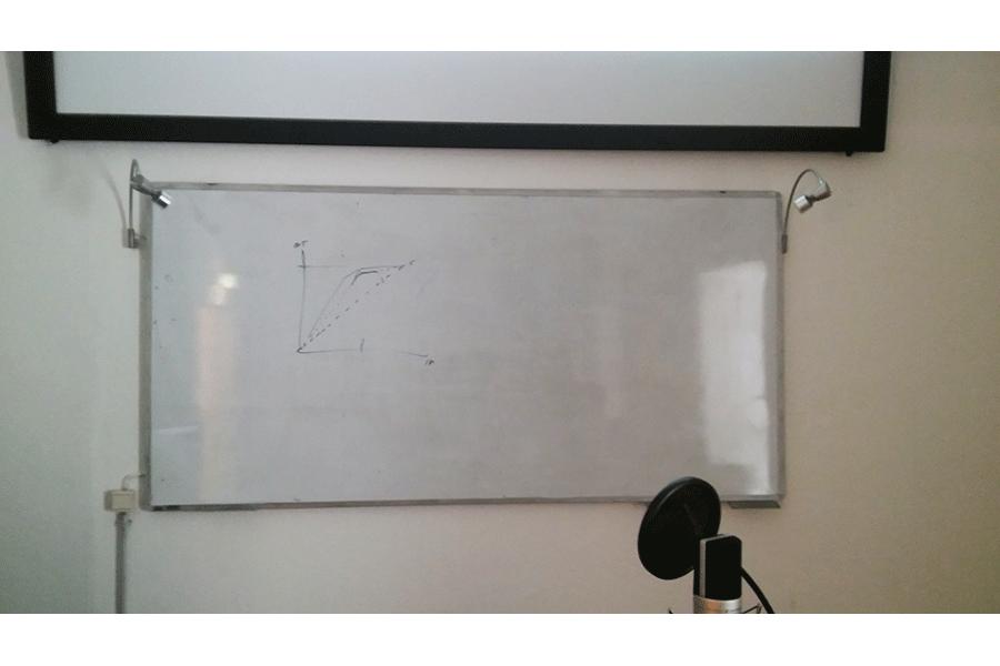 Tafel mit Aufzeichnung und Mikrofon davor - Logic Workshop